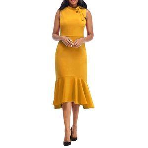 Maggy London Yellow Bow-Neck Flounce Midi Dress